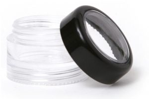 5-Gram Stackable Clear Jar without Sifter and Black Window Top